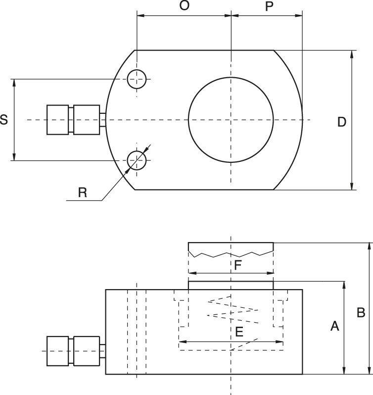 Flachzylinder, federrückzug - Zeichnung