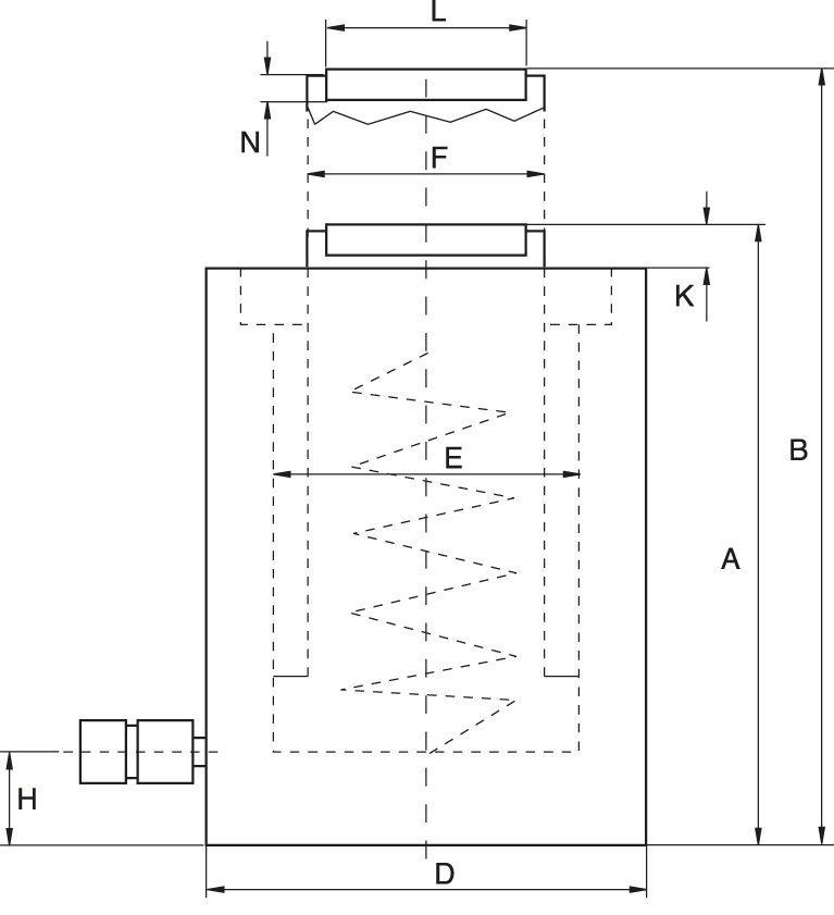 Enkelverkande cylindrar med fjäderretur - ritning