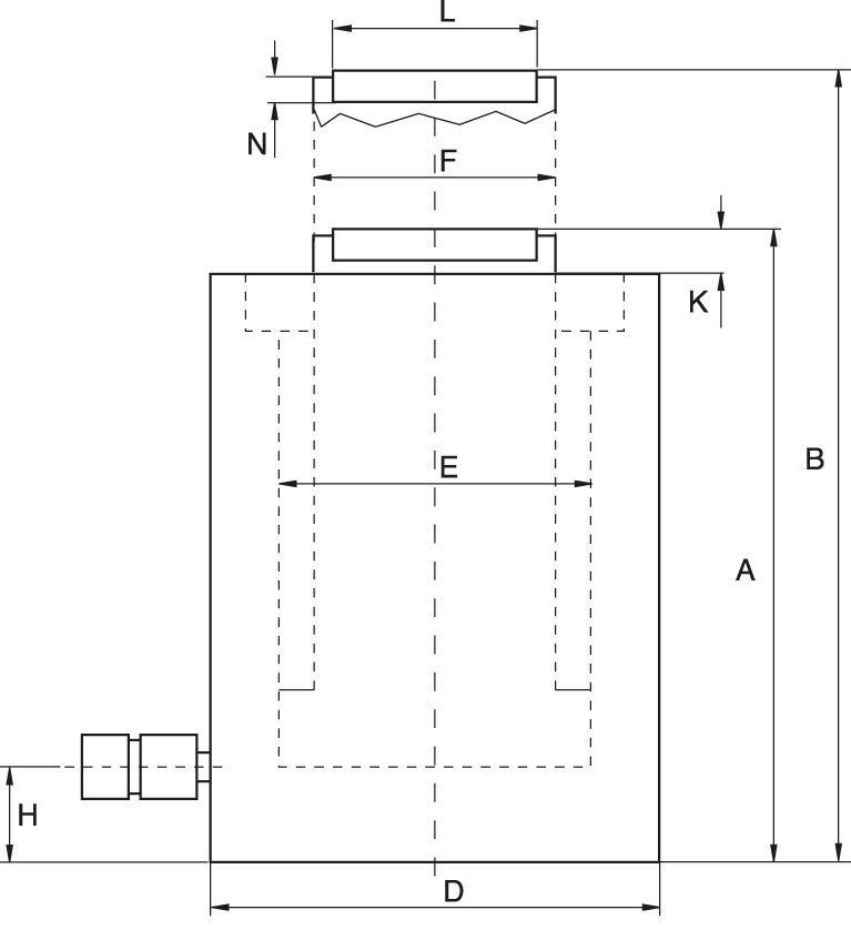 Flachzylinder, federrückzug - Technische Zeichnung