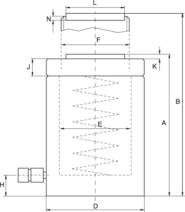 Cylindrar med låsmutter, fjäderretur - ritning