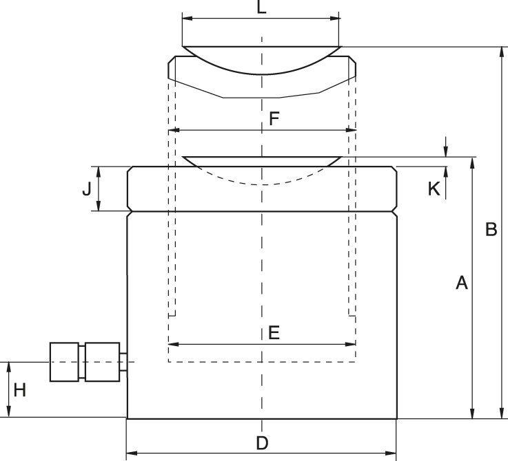 Extra Låga Cylindrar med Låsmutter, Lastretur - Teknisk ritning