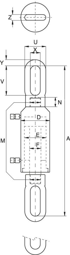 Zugzylinder - Technische Zeichnung