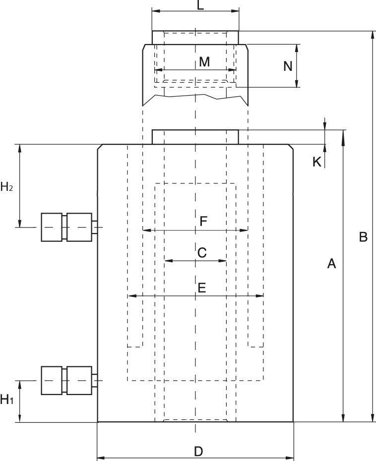 Hohlkolbenzylinder, Doppeltwirkende - Zeichnung